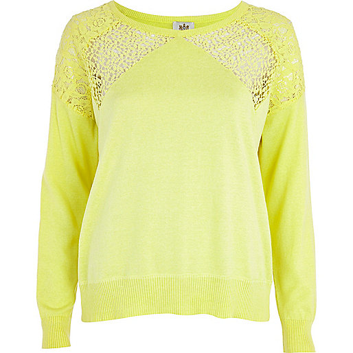 Yellow lace insert jumper