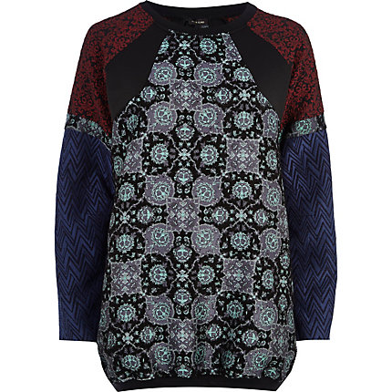 Black mixed jacquard panel sweatshirt