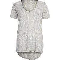 Grey marl low scoop t-shirt
