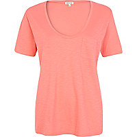 Pink marl low scoop neck t-shirt
