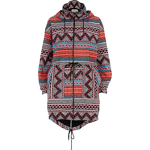 Pink tribal print lightweight parka jacket