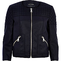 Black quilted panel collarless biker jacket