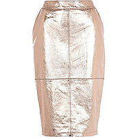 Rose gold metallic high waisted leather skirt