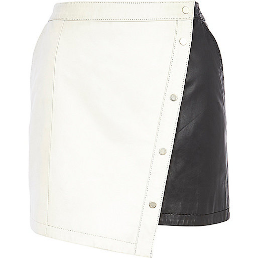 Cream colour block leather mini skirt