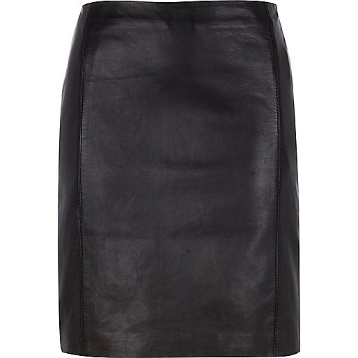 Black leather high waisted mini skirt