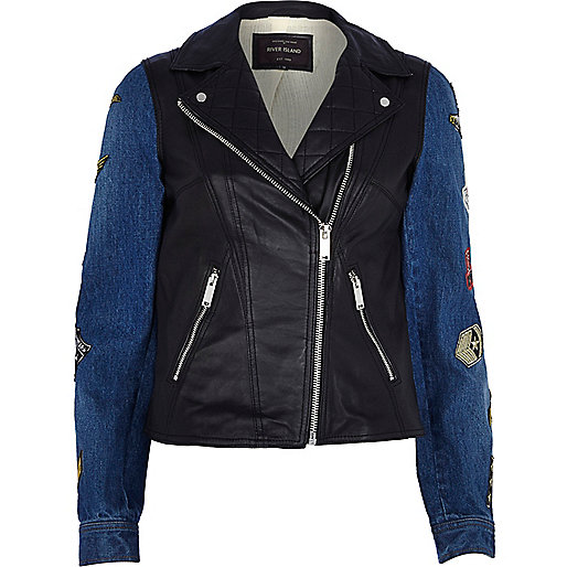 Black badged denim sleeve leather jacket