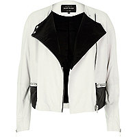 Cream leather two-tone ovoid biker jacket