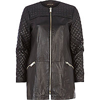 Black leather quilted panel coat