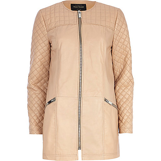 Light pink leather quilted panel coat