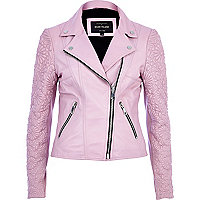 Pink embossed leather jacket