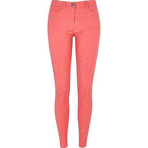 Coral jacquard skinny trousers