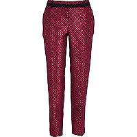 Pink geometric jacquard smart trousers