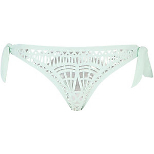 Green laser cut bikini brief
