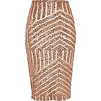 Bronze deco sequin embellished tube skirt