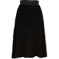 Black fluffy midi skirt