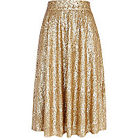 Gold sequin A line midi skirt