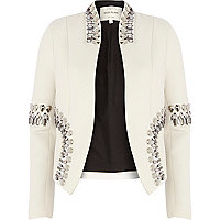 Cream scuba embellished structured blazer