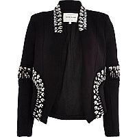Black embellished scuba blazer