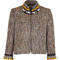 Orange boucle embellished jacket