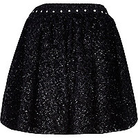 Black textured embellished circle skirt