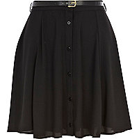 Black button through skater skirt