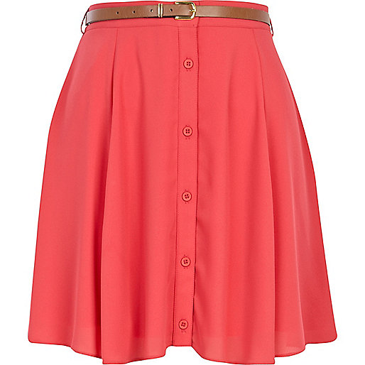 Pink button through skater skirt