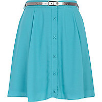 Turquoise button through skater skirt