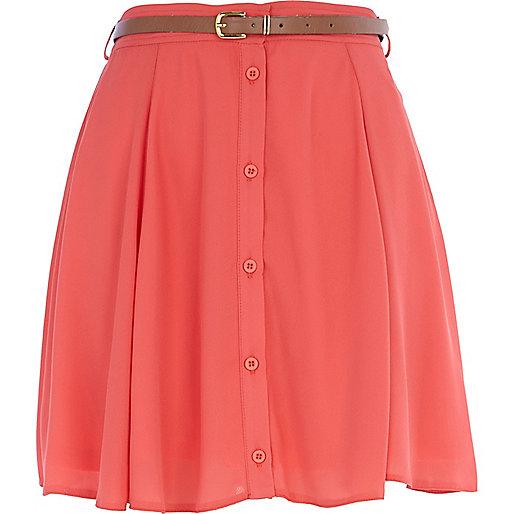 Coral chiffon button through skater skirt