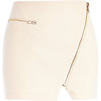 Light pink asymmetric zip biker skirt