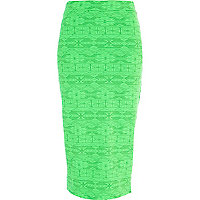 Green Aztec print pencil skirt