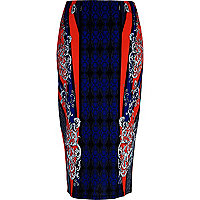 Blue symmetrical print pencil skirt