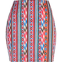 Pink aztec print mini tube skirt