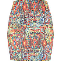 Orange aztec print mini tube skirt