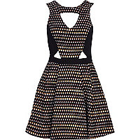 Bronze cut out jacquard skater dress