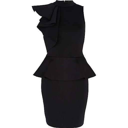 Black asymmetric frill scuba dress