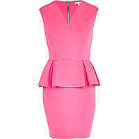 Pink V neck sleeveless peplum dress