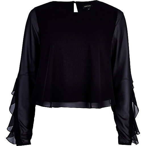 Black chiffon frill sleeve top
