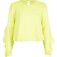 Yellow chiffon frill sleeve top