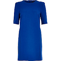 Bright blue half sleeve shift dress