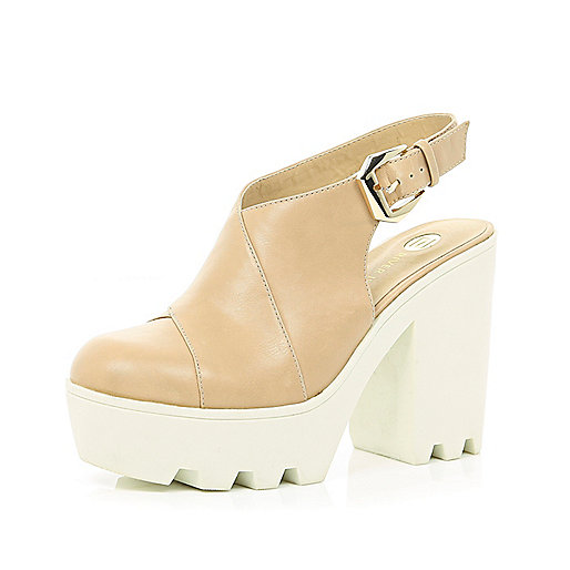 Light brown sling back platforms