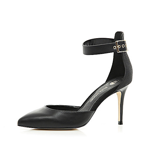 Black two-part ankle strap court shoes