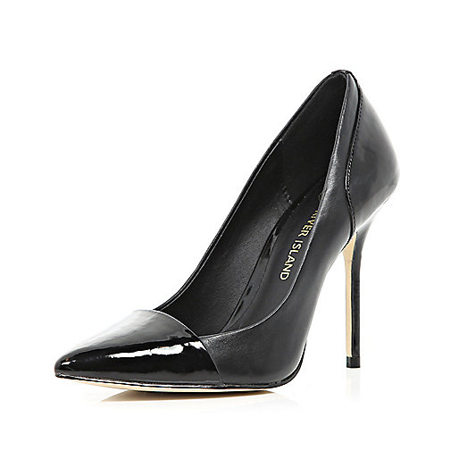 Black patent toe cap pointed court shoes