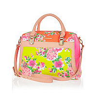 Pink floral panel bowler bag