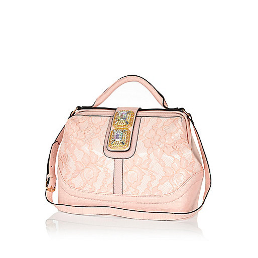 Light pink lace gem stone doctors bag