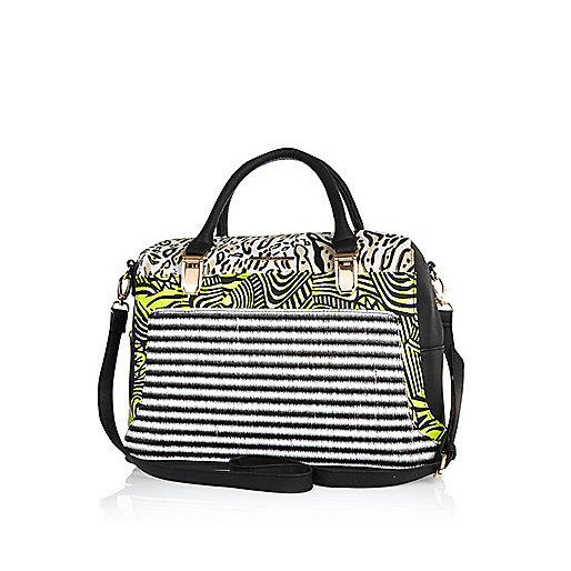 Black mixed print colour block bowler bag