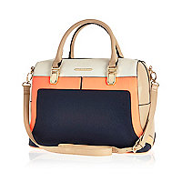 Navy colour block bowler bag