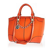 Orange chain trim bowler bag