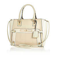 Cream colour block wing tote bag