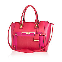Pink colour block wing tote bag