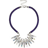 Purple cord statement necklace